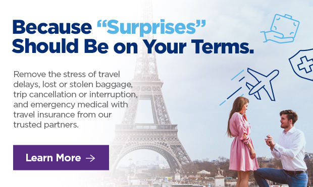 """Because """"Surprises"""" Should Be on Your Terms.  Remove the stress of travel delays, lost or stolen baggage, trip cancellation or interruption and emergency medical with travel insurance from our trusted partners."""