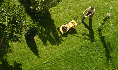 Aerial view of man mowing lawn.