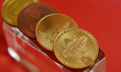 Different cryptocurrency, including Bitcoin.