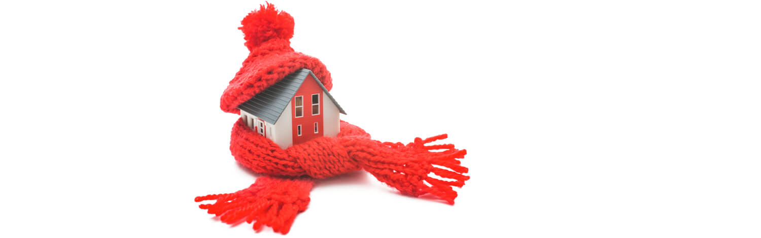 Home wrapped in scarp, illustrating getting your home ready for winter.